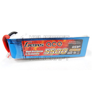 [Gens ace] 5500mAh 22.2V 45C 6S1P Lipo Battery Long Pack 고급배터리 (No plug)
