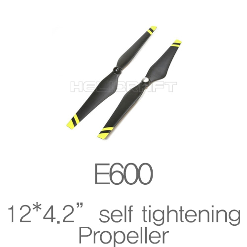 "[DJI] E600 Spare parts 12*4.2"" Self tightening black props Yellow strips 